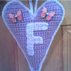 Crochet Heart With Letter On The Frint