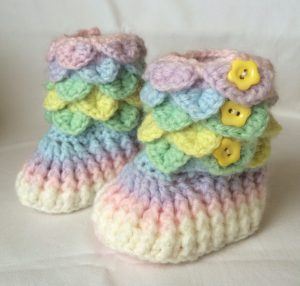 Crochet Baby Booties in varigated yarn