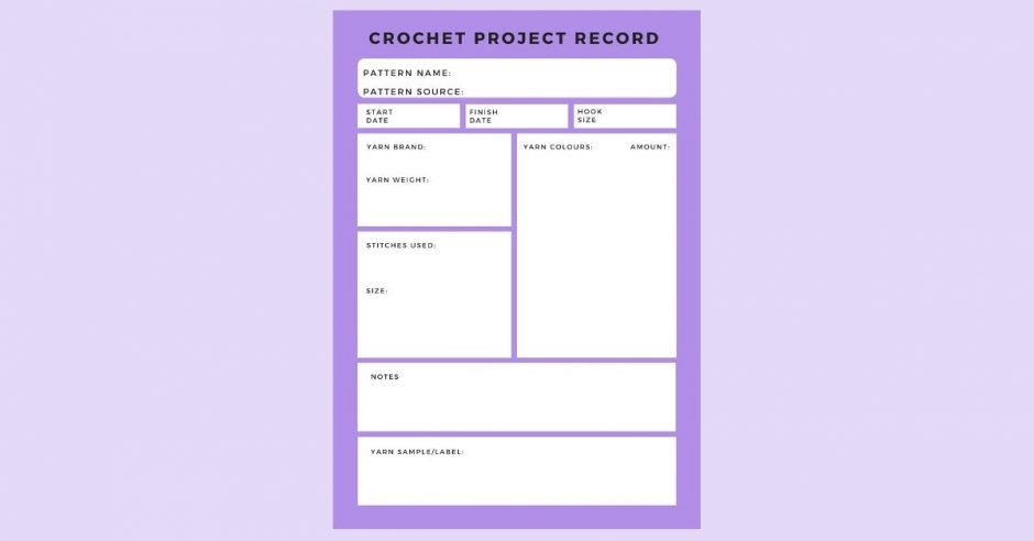 crochet project record card