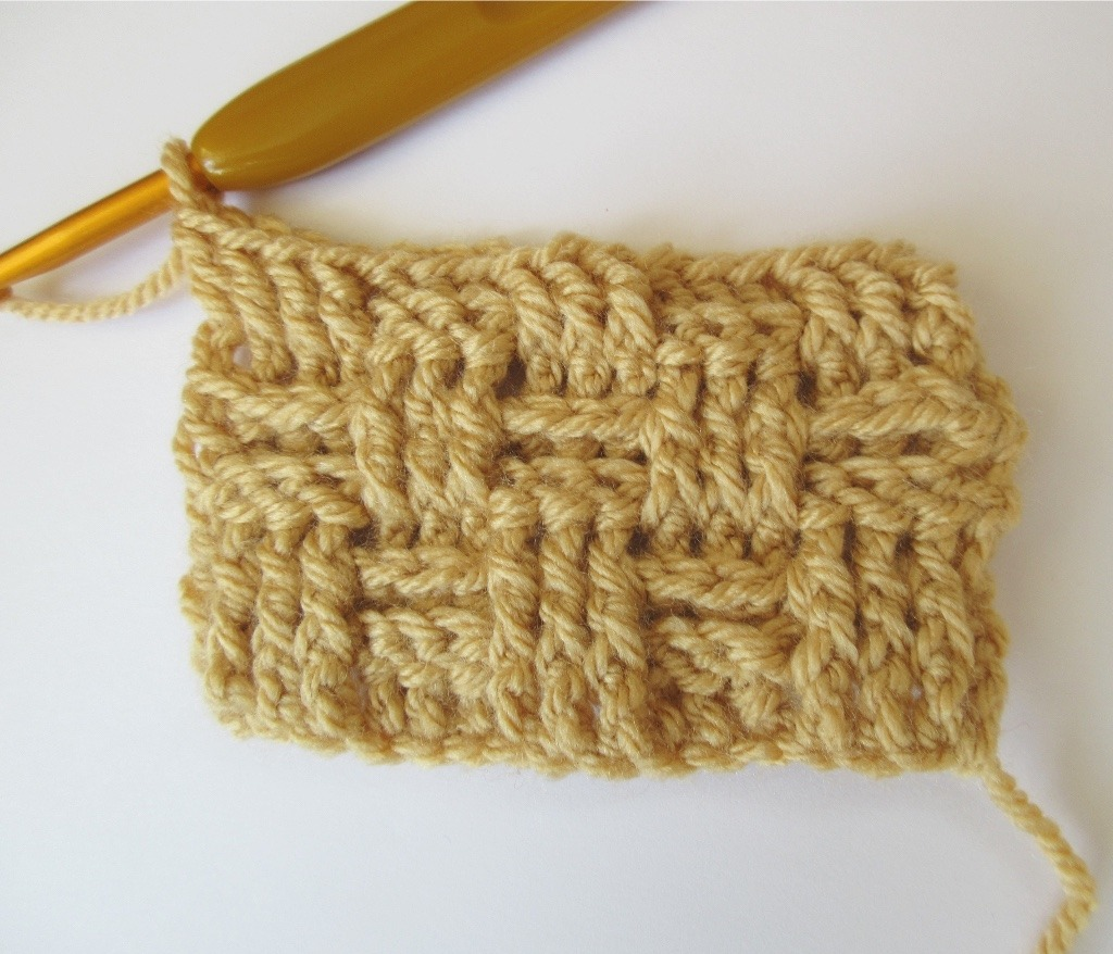 Crochet basketweave stitch after row 5 completed.