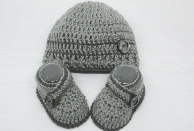 Dark Grey Booties And Hat Set